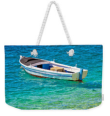 Old Wooden Fishermen Boat On Turquoise Beach Weekender Tote Bag