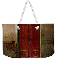 Old Wooden Gate Painted In Red  Weekender Tote Bag by Jaroslaw Blaminsky