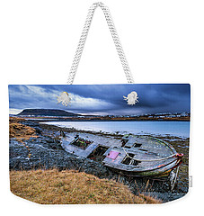 Old Wooden Ship On Beach Weekender Tote Bag