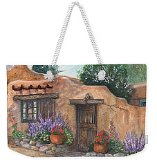 Weekender Tote Bag featuring the painting Old Adobe Cottage by Marilyn Smith