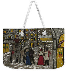 Weekender Tote Bag featuring the painting Olde Days In The Big Apple by Sharyn Winters