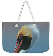 Weekender Tote Bag featuring the painting Ole Blue Eyes by Mike Brown