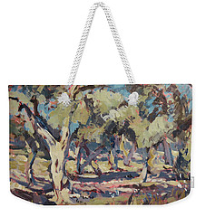 Weekender Tote Bag featuring the painting Olive Grove Along Marmari Beach Paxos by Nop Briex