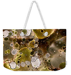 Weekender Tote Bag featuring the painting Olive Metal Abstract by Patricia Lintner