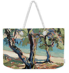 Weekender Tote Bag featuring the painting Olive Trees Along Marmari Beach Paxos by Nop Briex