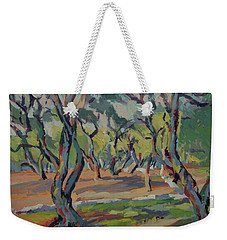 Weekender Tote Bag featuring the painting Olive Yard Paxos Greece by Nop Briex