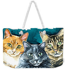 Oliver, Willow And Walter - Cat Painting Weekender Tote Bag