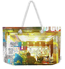 Weekender Tote Bag featuring the mixed media Ollie's by Tony Rubino