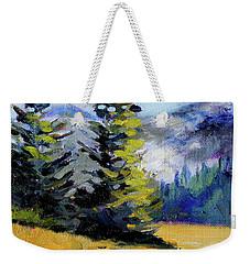 Weekender Tote Bag featuring the painting Olympic Range by Nancy Merkle