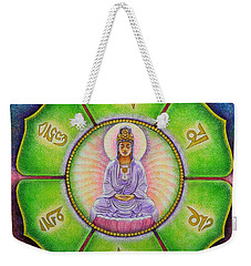 Weekender Tote Bag featuring the painting Om Mani Padme Hum Kuan Yin by Sue Halstenberg