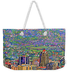 On A Clear Day - A View From Mill Mountain Weekender Tote Bag by Bonnie Mason