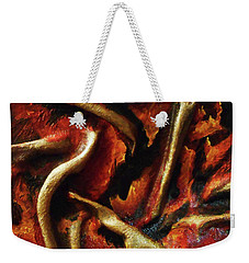 Weekender Tote Bag featuring the mixed media On Fire by Angela Stout