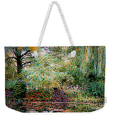 Weekender Tote Bag featuring the photograph Reflection On, Oscar - Claude Monet's Garden Pond by D Davila