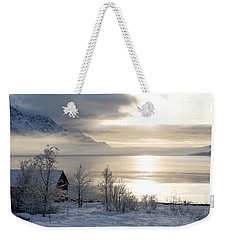 Weekender Tote Bag featuring the photograph On My Way Through Lofoten 4 by Dubi Roman