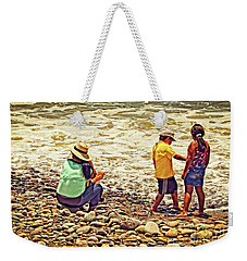 Weekender Tote Bag featuring the photograph On The Beach - Lima by Mary Machare