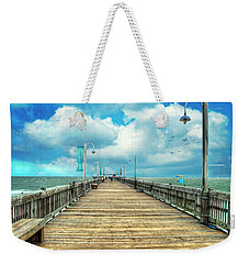 On The Pier At Tybee Weekender Tote Bag by Tammy Wetzel
