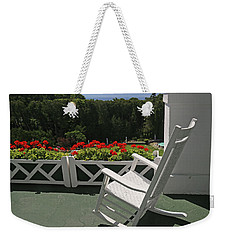 On The Porch At The Grand Hotel 5 Weekender Tote Bag by Mary Bedy