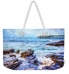Weekender Tote Bag featuring the photograph On The Rocks by Perry Webster