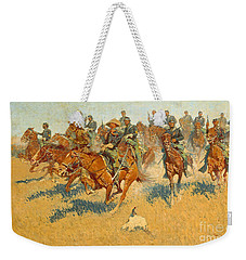 Weekender Tote Bag featuring the photograph On The Southern Plains Frederic Remington by John Stephens