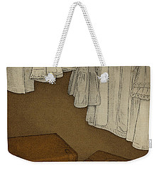 Weekender Tote Bag featuring the drawing Once by Meg Shearer