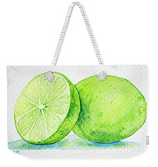 One And A Half Limes Weekender Tote Bag by Rebecca Davis