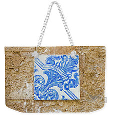 One Blue Vintage Tile  Weekender Tote Bag