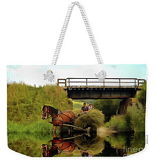 One Brown Horse Transportation Hay On Wooden Cart Weekender Tote Bag by Odon Czintos