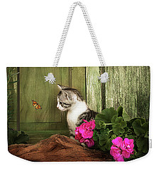 One Cute Kitten Waiting At The Door Weekender Tote Bag