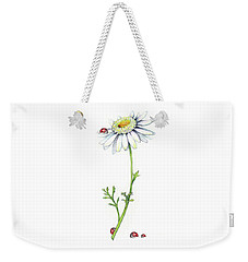 One Daisy And Four Ladybugs Weekender Tote Bag by Heidi Kriel