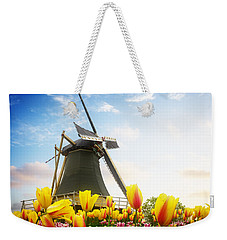 One Dutch Windmill Over  Tulips Weekender Tote Bag