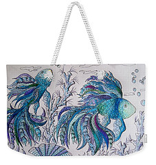 One Fish, Two Fish, Lilac Green And Blue Fish Weekender Tote Bag by Megan Walsh