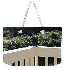 Weekender Tote Bag featuring the photograph One In The Mouth Is Worth by Marie Neder