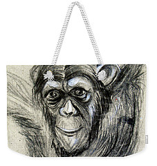 One Of A Kind Original Chimpanzee Monkey Drawing Study Made In Charcoal Weekender Tote Bag by Marian Voicu
