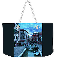 one of many normal channels of Venice on a summer evening Weekender Tote Bag