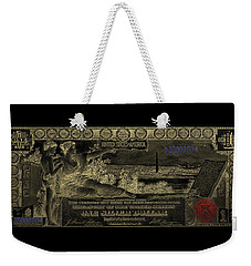 Weekender Tote Bag featuring the digital art One U.s. Dollar Bill - 1896 Educational Series In Gold On Black  by Serge Averbukh