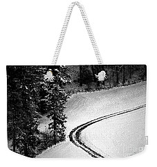 Weekender Tote Bag featuring the photograph One Way - Winter In Switzerland by Susanne Van Hulst