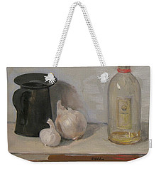 Onion And Garlic, Tin Can And Painting Medium Bottle Weekender Tote Bag