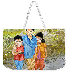 Weekender Tote Bag featuring the painting Onion Farm Children Bali Indonesia by Melly Terpening