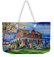 Weekender Tote Bag featuring the painting Ontario House Portrait  by Hanne Lore Koehler