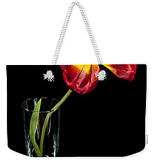 Open Red Tulip In Vase Weekender Tote Bag