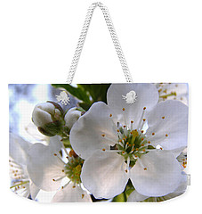 Weekender Tote Bag featuring the photograph Opening Act -  Cherry Blossoms by Angie Rea