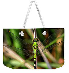 Weekender Tote Bag featuring the photograph Openminded Green Dragonfly Art by Reid Callaway