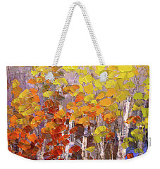 Weekender Tote Bag featuring the painting Operation October by Tatiana Iliina
