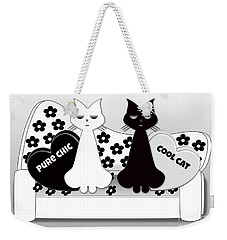 Opposites Attract - Black And White Cats On The Sofa Weekender Tote Bag