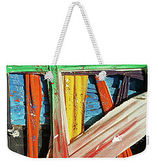 Weekender Tote Bag featuring the painting Opposites Attract by John Jr Gholson