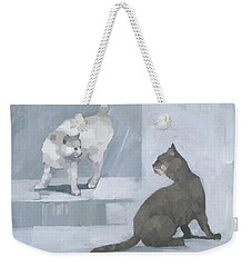 Weekender Tote Bag featuring the painting Opposites by Steve Mitchell