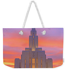 Weekender Tote Bag featuring the photograph Oquirrh Mountain Temple IIi by Chad Dutson