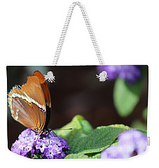 Orange And Brown Butterfly On Purple Weekender Tote Bag