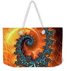 Weekender Tote Bag featuring the digital art Orange And Cyan Fractal Art by Matthias Hauser