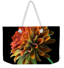 Weekender Tote Bag featuring the photograph Orange And Green Zinnia  by Jim Hughes